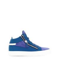 Sneakers alte in pelle scamosciata blu