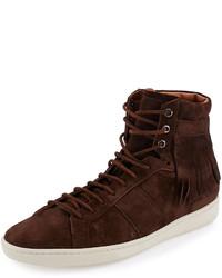 Sneakers alte in pelle scamosciata marrone scuro