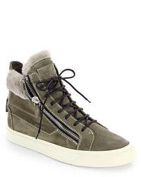 Sneakers alte in pelle scamosciata verde oliva