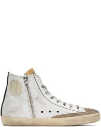 Sneakers alte in pelle stampate bianche