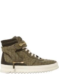 Sneakers alte in pelle verde oliva