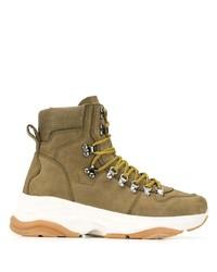 Sneakers alte in pelle verde oliva di DSQUARED2