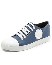 Sneakers basse blu scuro e bianche