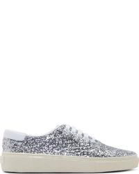 Sneakers basse con paillettes argento
