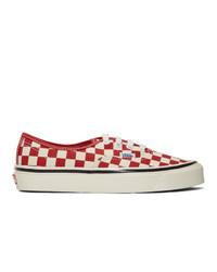 Sneakers basse di tela a quadri bianche e rosse