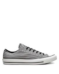 Sneakers basse di tela a righe orizzontali bianche e nere