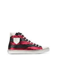 Sneakers basse di tela a righe orizzontali rosse