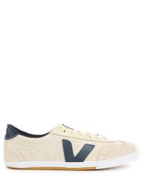 Sneakers basse di tela beige