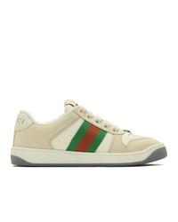 Sneakers basse di tela beige di Gucci