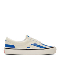 Sneakers basse di tela bianche e blu