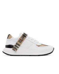 Sneakers basse di tela bianche di Burberry