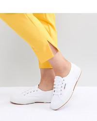 Sneakers basse di tela bianche di Superga