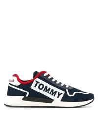 Sneakers basse di tela blu scuro e bianche di Tommy Jeans