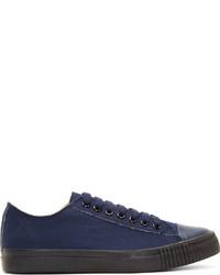 Sneakers basse di tela blu scuro