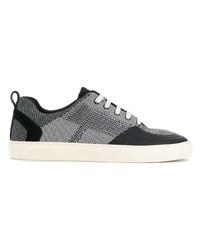 Sneakers basse di tela nere e bianche di Bally
