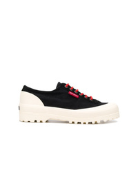 Sneakers basse di tela nere e bianche di Superga
