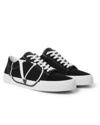 Sneakers basse di tela nere e bianche di Valentino