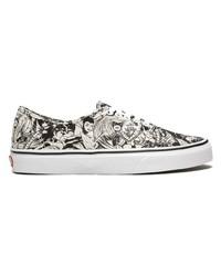 Sneakers basse di tela nere e bianche di Vans