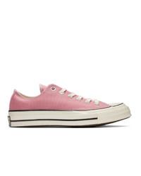Sneakers basse di tela rosa di Converse