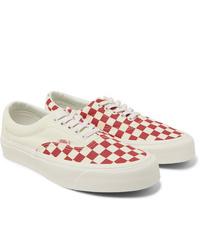 Sneakers basse di tela rosse e bianche