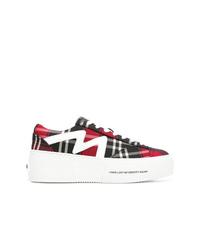 Sneakers basse di tela scozzesi multicolori di MSGM