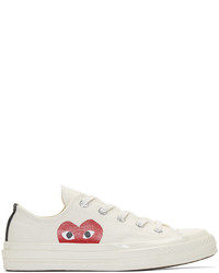 Sneakers basse di tela stampate bianche