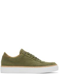 Sneakers basse di tela verde oliva