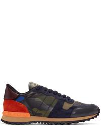Sneakers basse di tela verde scuro