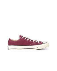 Sneakers basse di tela viola melanzana