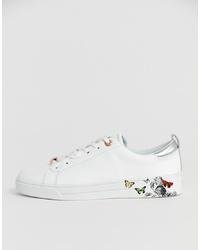 Sneakers basse in pelle a fiori bianche di Ted Baker
