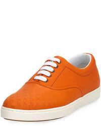 Sneakers basse in pelle arancioni
