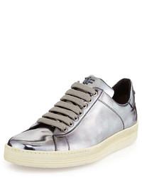 Sneakers basse in pelle argento