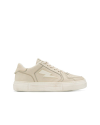 Sneakers basse in pelle beige di Neil Barrett