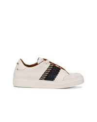 Sneakers basse in pelle bianche e nere di Ermenegildo Zegna