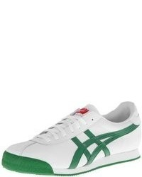 Sneakers basse in pelle bianche e verdi