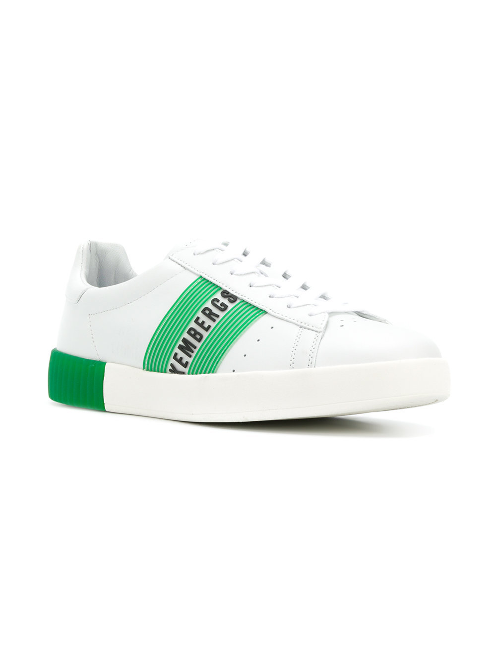 a947bb2640 Sneakers basse in pelle bianche e verdi di Dirk Bikkembergs