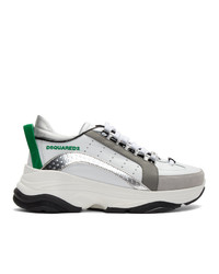 Sneakers basse in pelle bianche e verdi di DSQUARED2