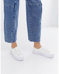 Sneakers basse in pelle bianche di New Look