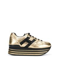 Sneakers dorate da donna di Hogan   Lookastic