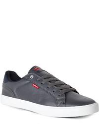Sneakers basse in pelle grigio scuro