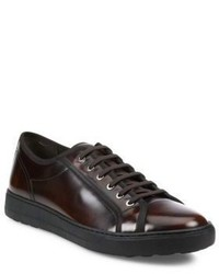Sneakers basse in pelle marrone scuro