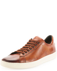 Sneakers basse in pelle marroni