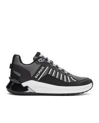 Sneakers basse in pelle nere e bianche di Balmain