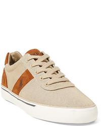 Sneakers basse in pelle scamosciata beige