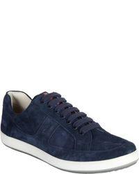Sneakers basse in pelle scamosciata blu scuro