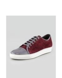 Sneakers basse in pelle scamosciata bordeaux