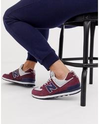 Sneakers basse in pelle scamosciata bordeaux di New Balance