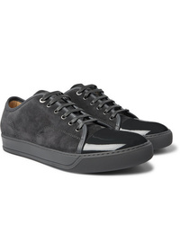 Sneakers basse in pelle scamosciata grigio scuro
