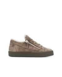 Sneakers basse in pelle scamosciata marroni di Giuseppe Zanotti Design