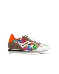 Sneakers basse in pelle scamosciata multicolori di Etro
